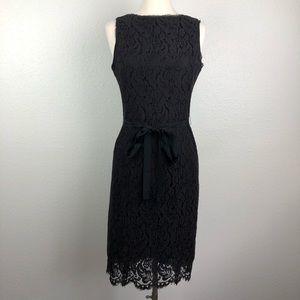 Talbots black lace sheath dress 8